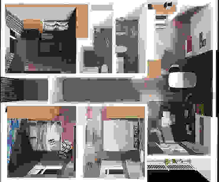 Mặt bằng tổng thể căn hộ 3 phòng ngủ: tối giản  by Công ty TNHH QPDesign, Tối giản