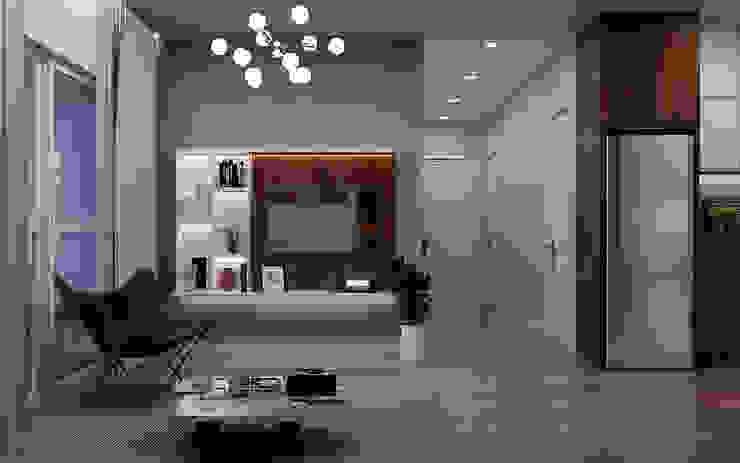 Một góc nhìn từ phòng khách khi ngồi ở vị trí ghế Sofa: tối giản  by Công ty TNHH QPDesign, Tối giản