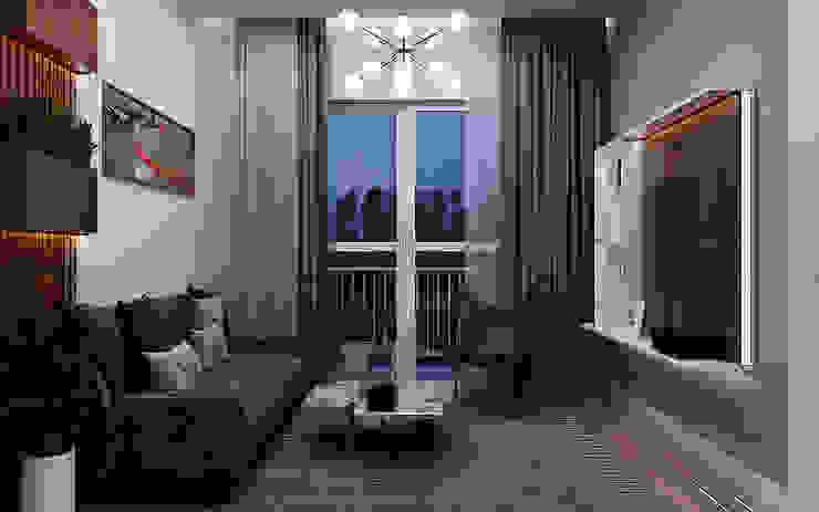 Góc nhìn từ phòng khách ra hướng ban công: tối giản  by Công ty TNHH QPDesign, Tối giản