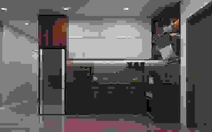 Bếp căn hộ Vinhomes Grand Park 3 Phòng ngủ: tối giản  by Công ty TNHH QPDesign, Tối giản
