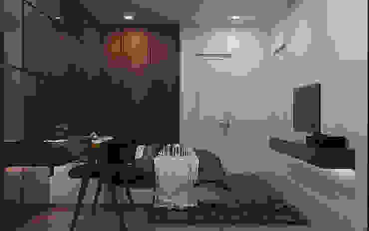 Phòng ngủ master căn hộ Vinhomes Grand Park 3 Phòng ngủ: tối giản  by Công ty TNHH QPDesign, Tối giản