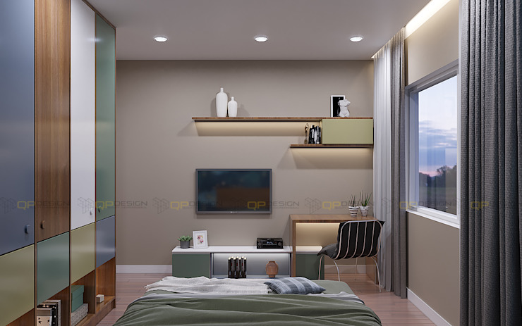 Phòng ngủ phụ căn hộ Vinhomes Grand Park 3 Phòng ngủ: tối giản  by Công ty TNHH QPDesign, Tối giản
