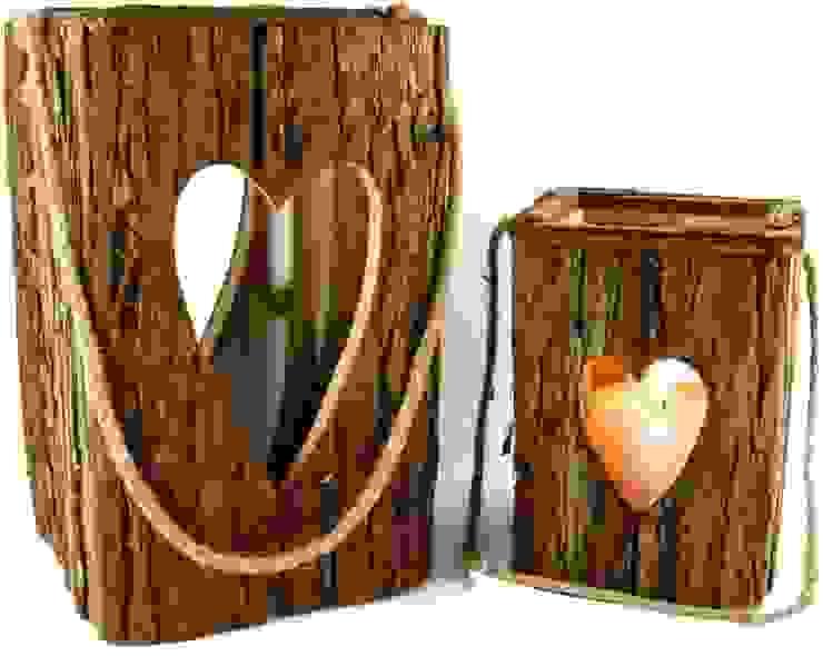 Laternen in groß und klein mit Herz und Glaszylinder Allgaier-Allerlei® Rustikale Wohnzimmer Holz Braun