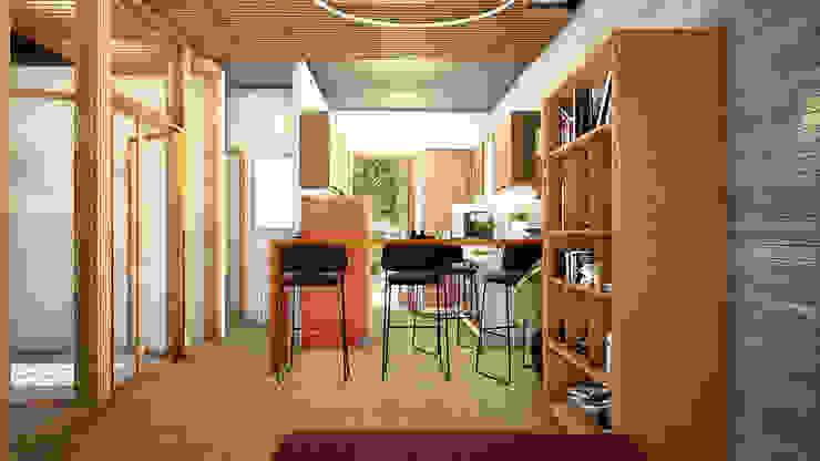 Espacio interior - cocina + living + comedor + acceso de LiberonArquitectura Industrial Hierro/Acero