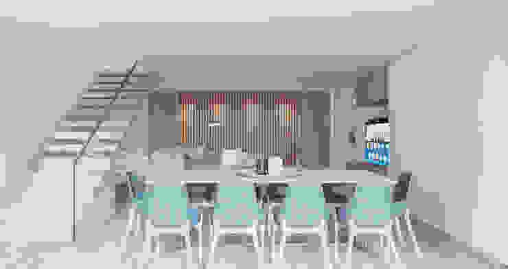 Zona de jantares com c«maior numero de pessoas e sala de cinema Salas de jantar modernas por Alpha Details Moderno