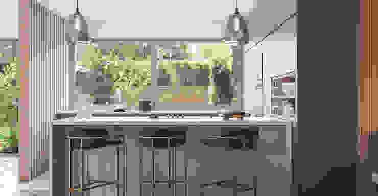zona península da cozinha com bancos altos por Alpha Details Moderno