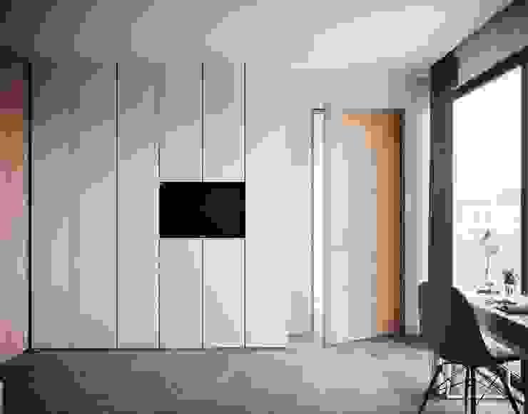 Quarto Menina zona roupeiro tv embutida Quartos modernos por Alpha Details Moderno