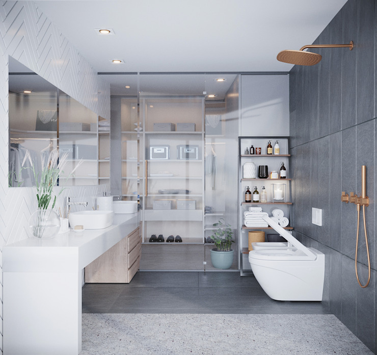 WC suite principal v1 Casas de banho modernas por Alpha Details Moderno