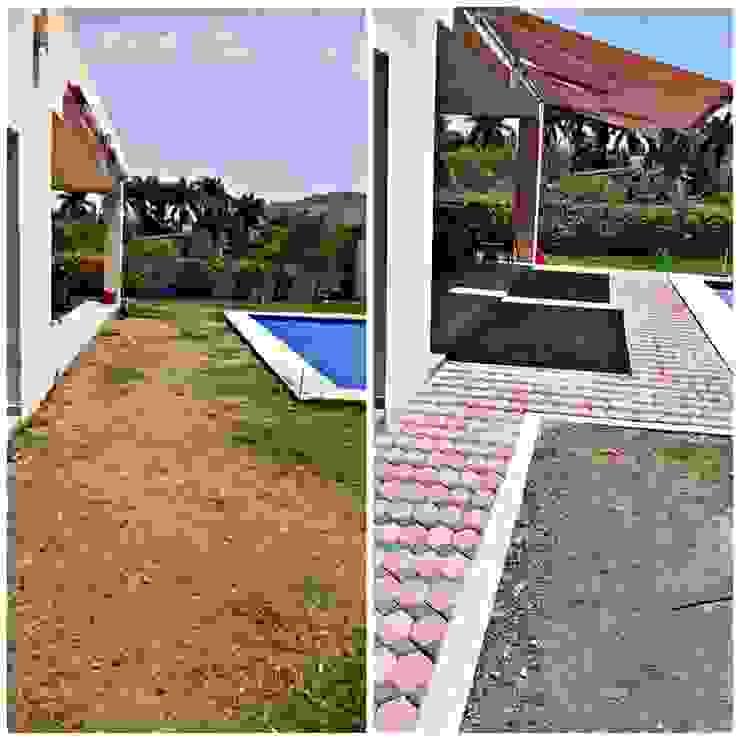 AR216 Balkon, Beranda & Teras Gaya Kolonial Batu Bata Orange