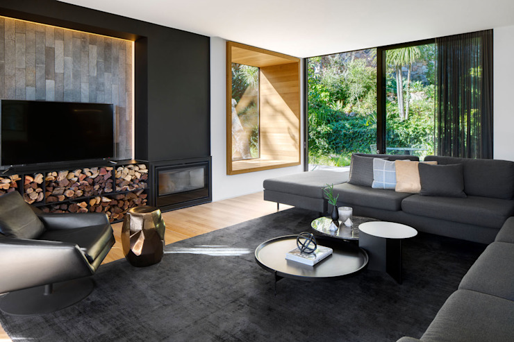 Wright Architects Modern Living Room Wood Black