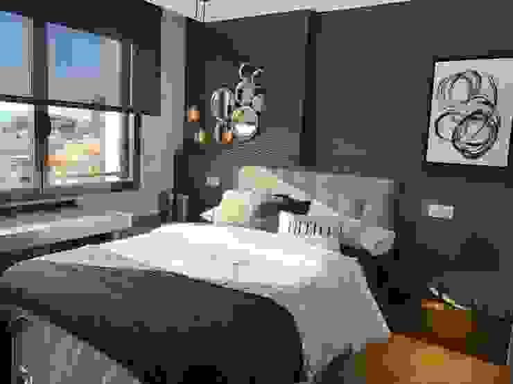Dormitorio juvenil con mucha personalidad Ismael Blázquez | MTDI ARQUITECTURA E INTERIORISMO Dormitorios de estilo ecléctico Madera Gris