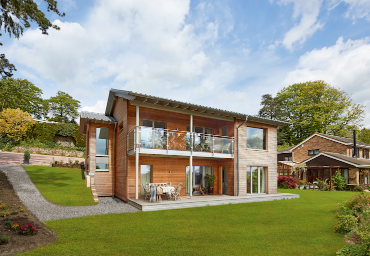 Eco House Crowley: a Beautiful Natural Setting Baufritz (UK) Ltd. Wooden houses Wood Wood effect
