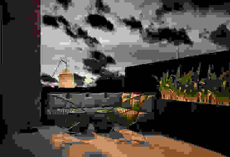 Terraza ático DyD Interiorismo - Chelo Alcañíz Balcones y terrazas de estilo clásico Derivados de madera Marrón