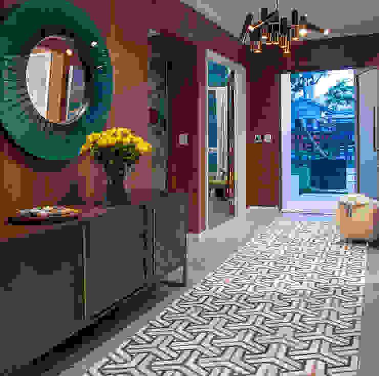Mid-century Style Entrance Design Intervention Modern corridor, hallway & stairs