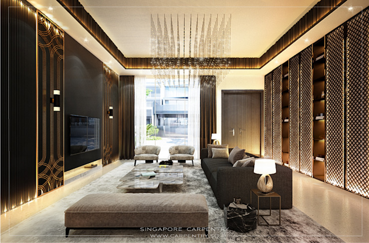 Gold Accented Luxury with Cove Lighting Singapore Carpentry Interior Design Pte Ltd Modern living room Wood Amber/Gold
