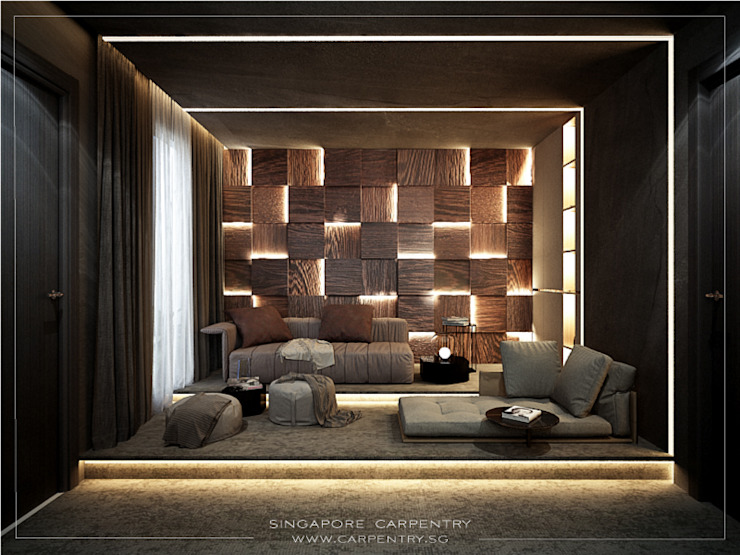 Gold Accented Luxury with Cove Lighting Singapore Carpentry Interior Design Pte Ltd Modern media room Wood Wood effect