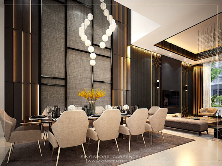Gold Accented Luxury with Cove Lighting Singapore Carpentry Interior Design Pte Ltd Modern dining room Marble Amber/Gold