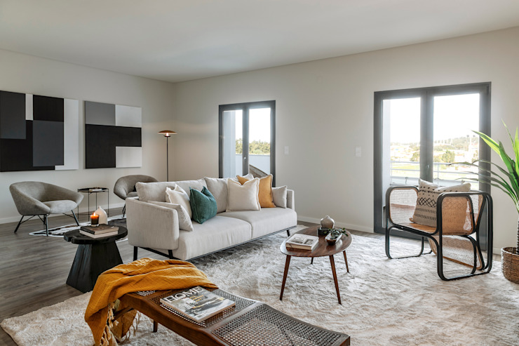 Sala de estar Salas de estar tropicais por Staging Factory Tropical
