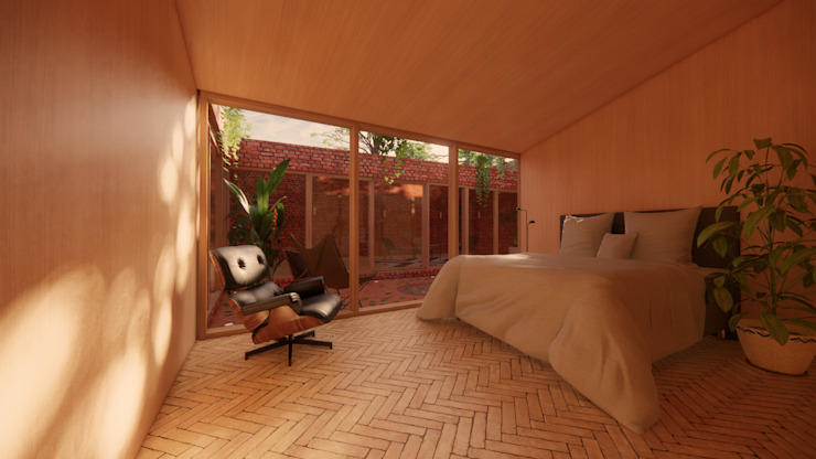 Modern Timber Bedroom - Solar Courtyard House, Beverley, East Yorkshire Samuel Kendall Associates Limited Industrial style bedroom Wood Wood effect