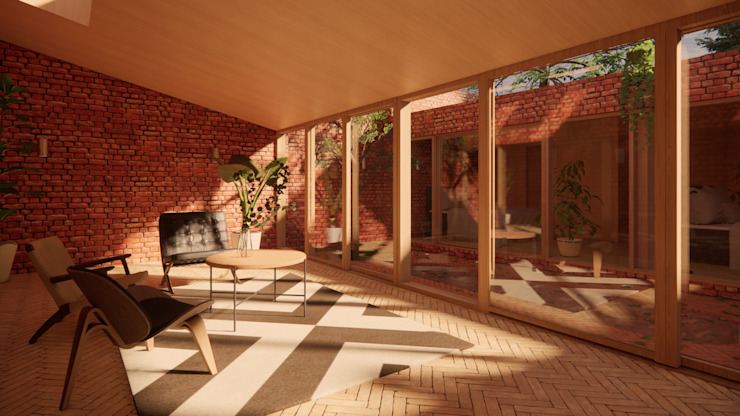 Living Space - Solar Courtyard House, Beverley, East Yorkshire Samuel Kendall Associates Limited Living room Bricks Red