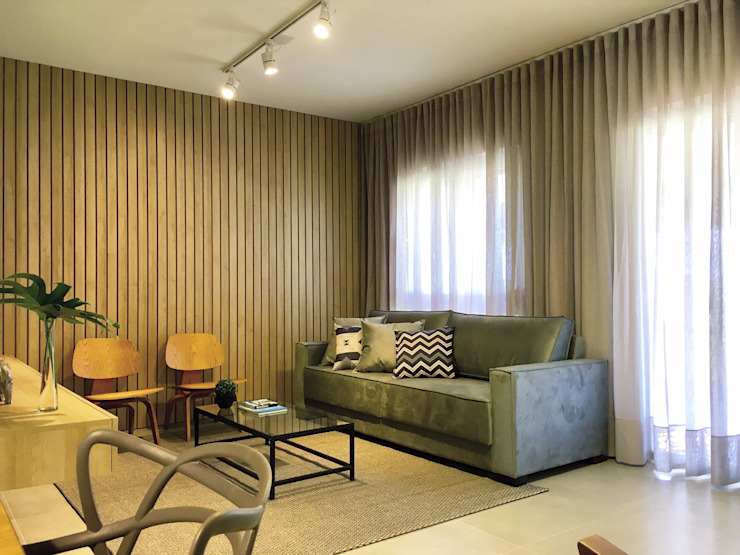 Rabisco Arquitetura Minimalist living room MDF Wood effect
