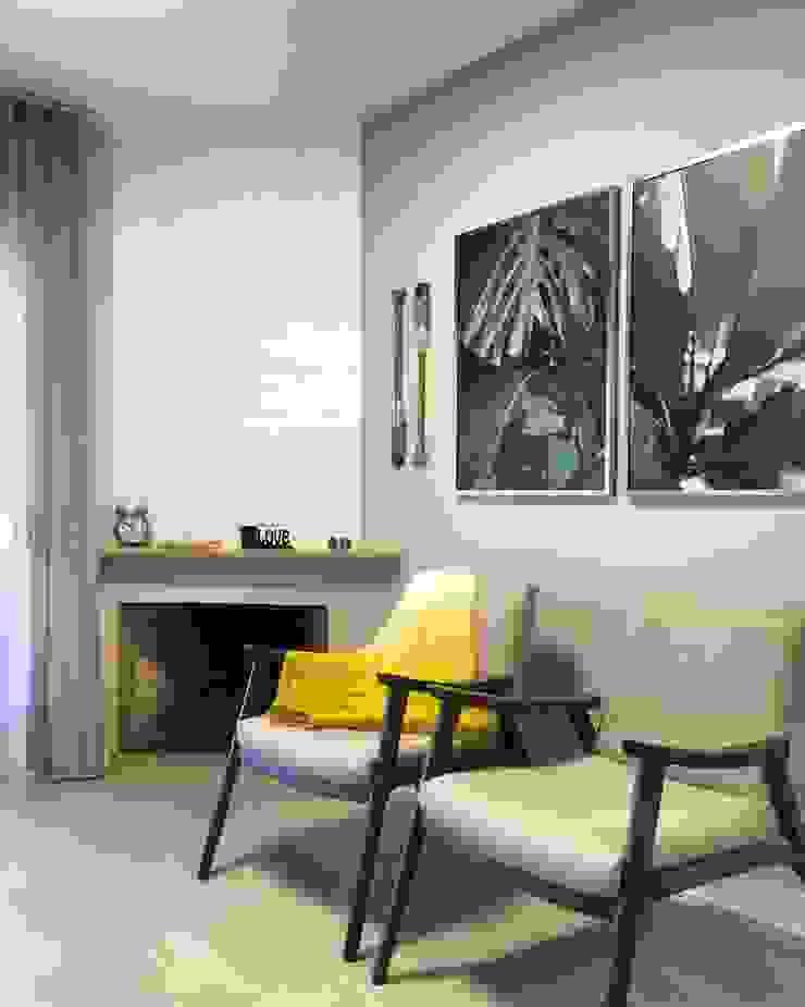 Rabisco Arquitetura Modern living room Bricks White