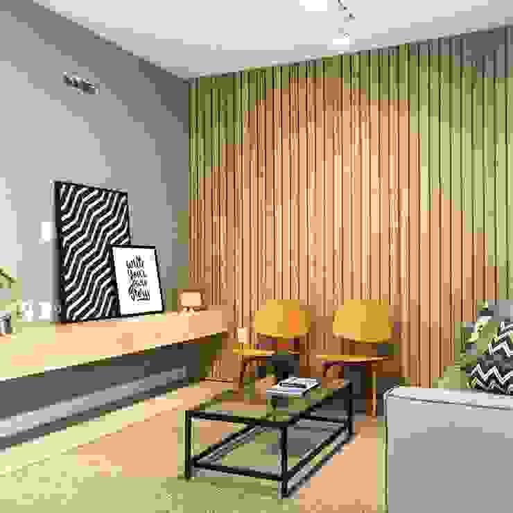 Rabisco Arquitetura Modern living room MDF Wood effect