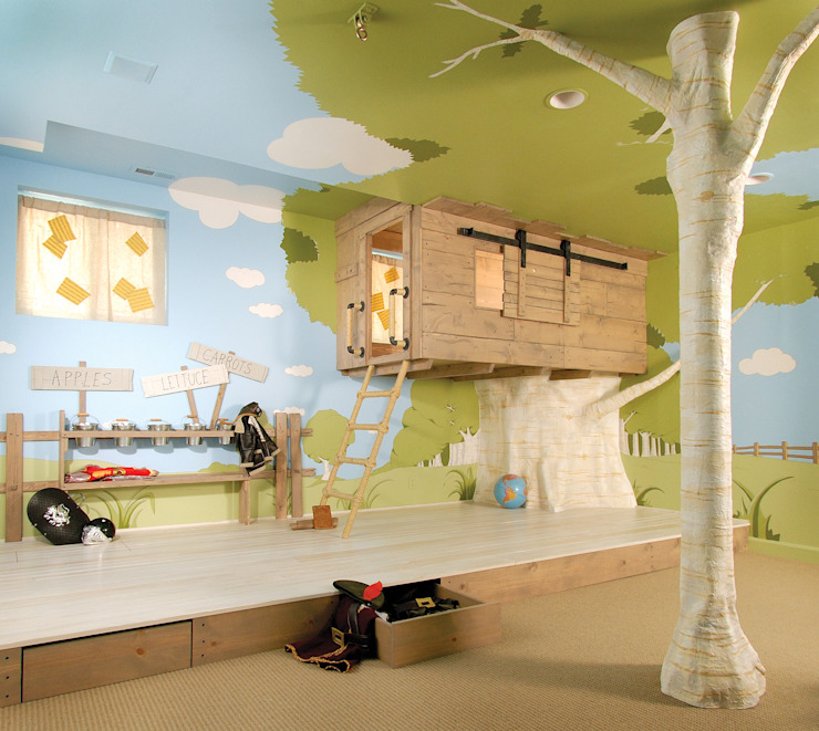Kids Treehouse Play Room Modern Living Room by Adaptiv DC Modern Wood Wood effect