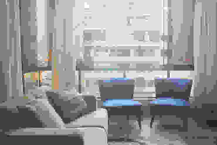 Departamento LB Nicolas Elias Arquitectura Salas / recibidores Cerámico Azul