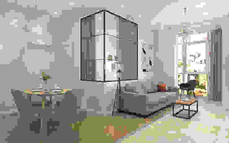 Квартира свободной планировки площадью 81 м2. ARTWAY центр профессиональных дизайнеров и строителей Гостиная в скандинавском стиле Бежевый