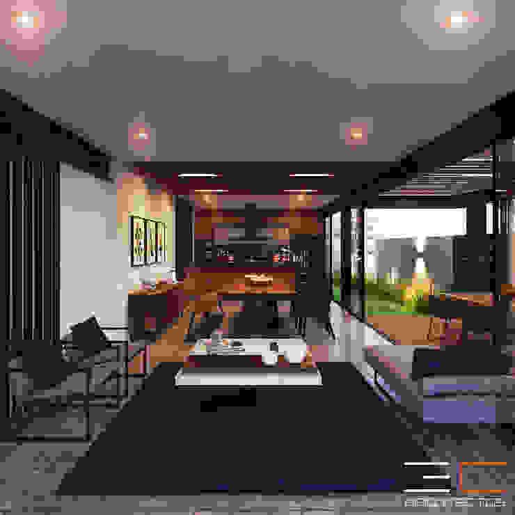 Residencia LD [León, Gto.] Comedores modernos de 3C Arquitectos S.A. de C.V. Moderno Madera maciza Multicolor