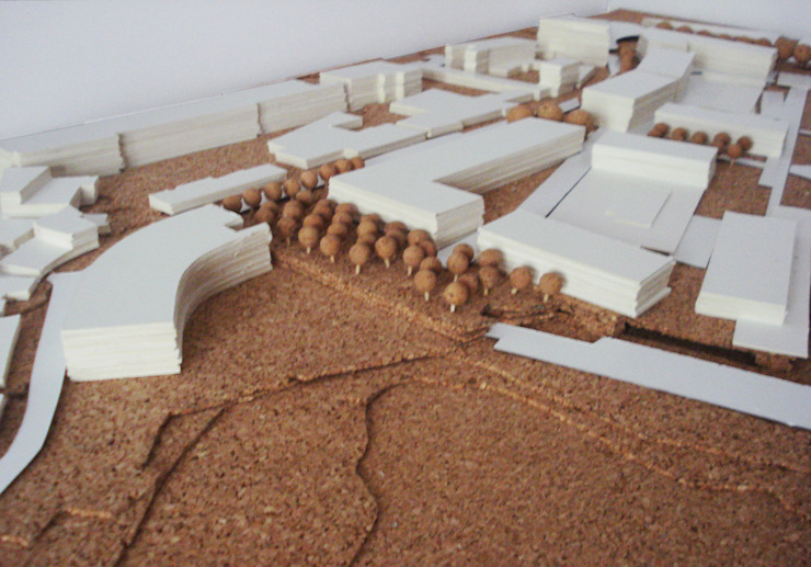 jardim da solução Urbanística - Elemento de ligação por Carlos Amorim Faria, Arquitecto Moderno
