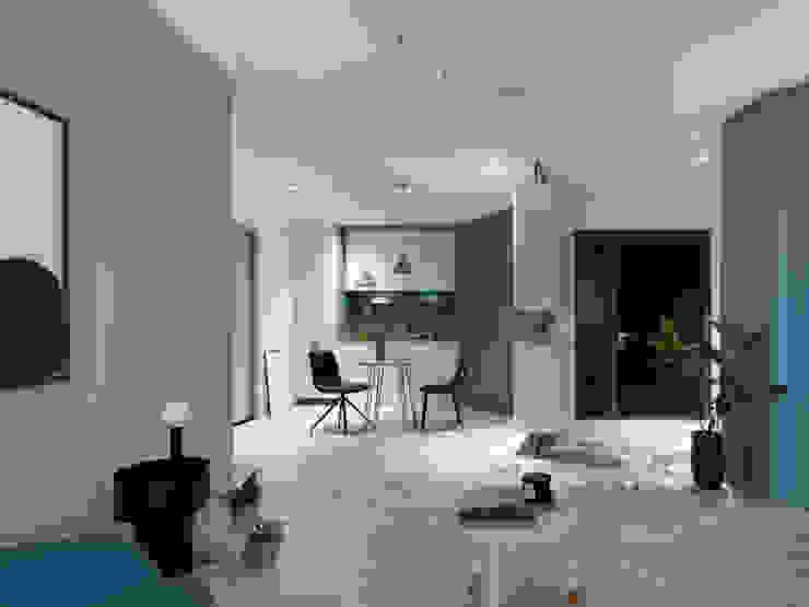 藍隅 现代客厅設計點子、靈感 & 圖片 根據 知域設計 現代風