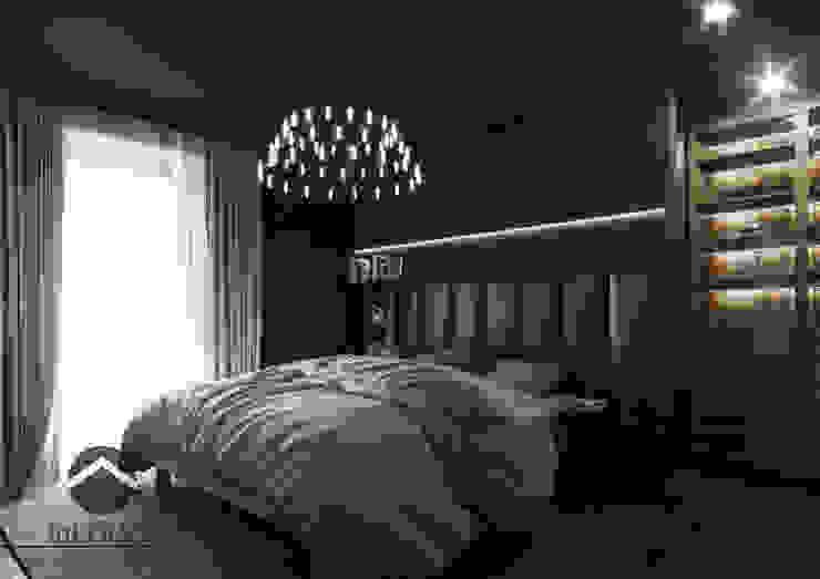 Ciemna sypialnia inPOINT Architektura Wnętrz Nowoczesna sypialnia