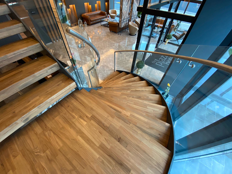 The Plaza Hotel Edirne Lobi Merdiven Modern Oteller Pİ METAL TASARIM MERDİVEN Modern Masif Ahşap Rengarenk