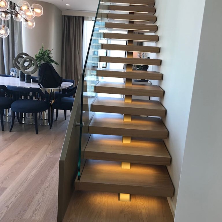 metal omurgalı merdiven,cam korkuluklu merdivenler MERDİVENCİ Modern Ahşap Ahşap rengi