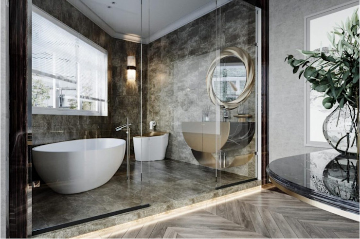 BIỆT THỰ PARK RIVERSIDE – QUẬN 9 – THÀNH PHỐ HỒ CHÍ MINH Phòng tắm phong cách kinh điển bởi Neo Classic Interior Design Kinh điển