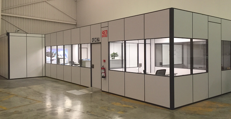 TABIQUES Y TECNOLOGIA MODULAR S.L Industrial style offices & stores Chipboard Grey