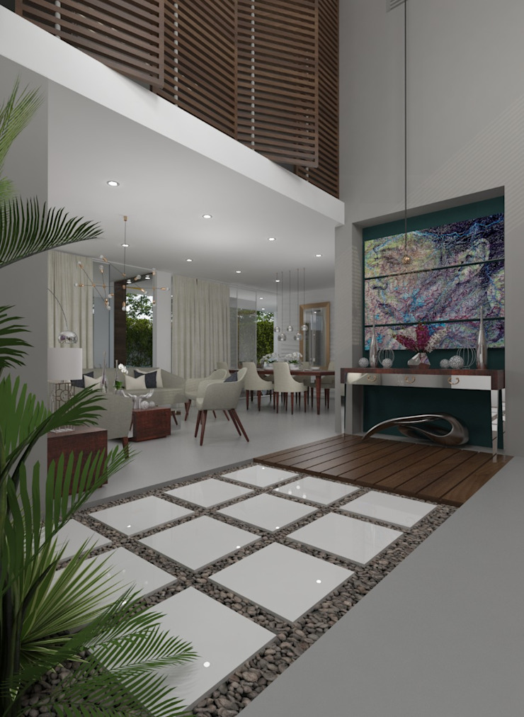 Casa Pedraza Pasillos, vestíbulos y escaleras de estilo moderno de NG Arquitectos Moderno
