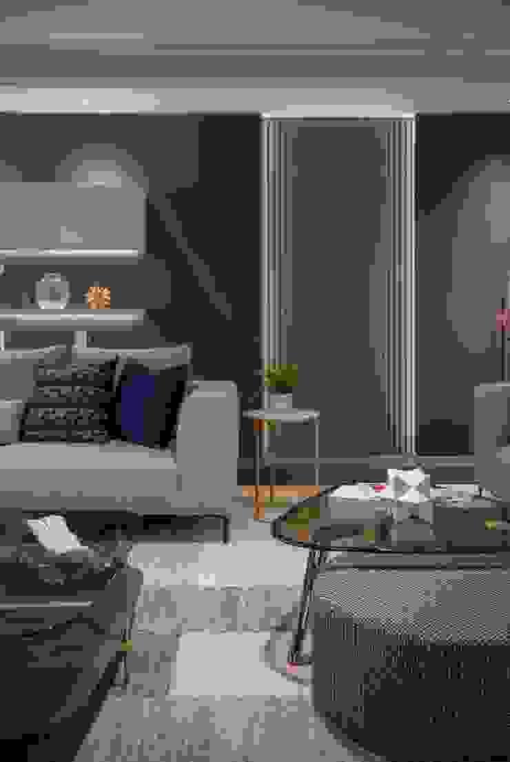 國泰O2實品屋 现代客厅設計點子、靈感 & 圖片 根據 雅群空間設計 現代風