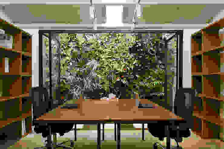 壁面緑化のあるオフィス イナガキケンチクケンキュウショ オフィススペース&店 ガラス 緑