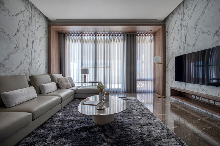 Eternal Moon - Residential Interior Design 勻境設計 Unispace Designs 现代客厅設計點子、靈感 & 圖片