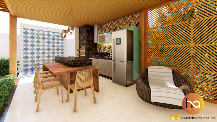 Habitus Arquitetura Modern style balcony, porch & terrace Wood Wood effect