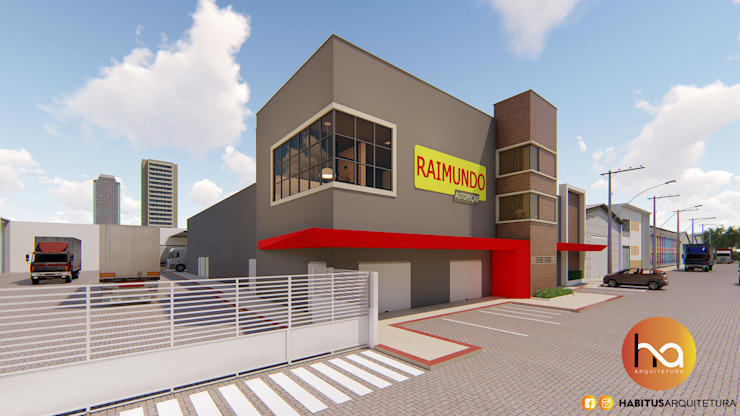 01 Edifícios comerciais modernos por Habitus Arquitetura Moderno Concreto
