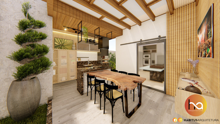 Habitus Arquitetura Modern Terrace Solid Wood Wood effect