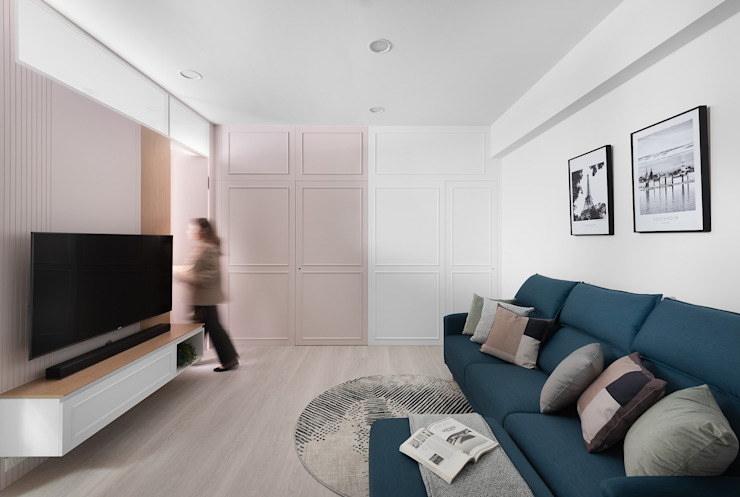 飴 现代客厅設計點子、靈感 & 圖片 根據 知域設計 現代風