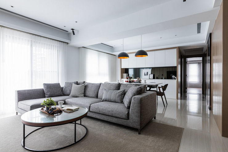 客餐廳 现代客厅設計點子、靈感 & 圖片 根據 大企國際空間設計有限公司 現代風