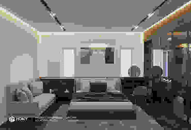 Thiết kế nội thất nhà phố Nguyễn Phong Sắc Công ty TNHH xây dựng và kiến trúc Homy Việt Nam BedroomBeds & headboards