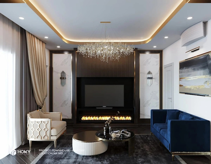 Thiết kế nội thất nhà phố Nguyễn Phong Sắc Công ty TNHH xây dựng và kiến trúc Homy Việt Nam Living roomCupboards & sideboards
