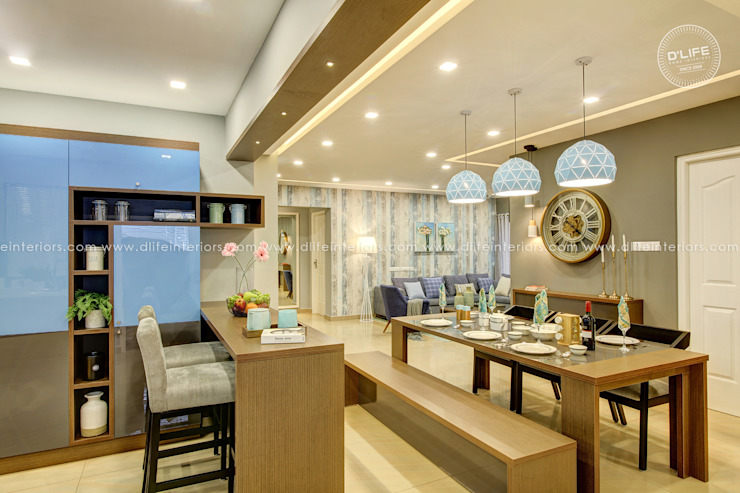 Integrated Breakfast Counter DLIFE Home Interiors Modern kitchen